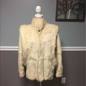 Jackets & Blazers - Vintage 100% Rabbit Fur Coat with Satin Lining